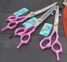 P2550 6cr13 6 inch pet grooming scissors kit 3pcs pack curve and cutting and thinning scissors