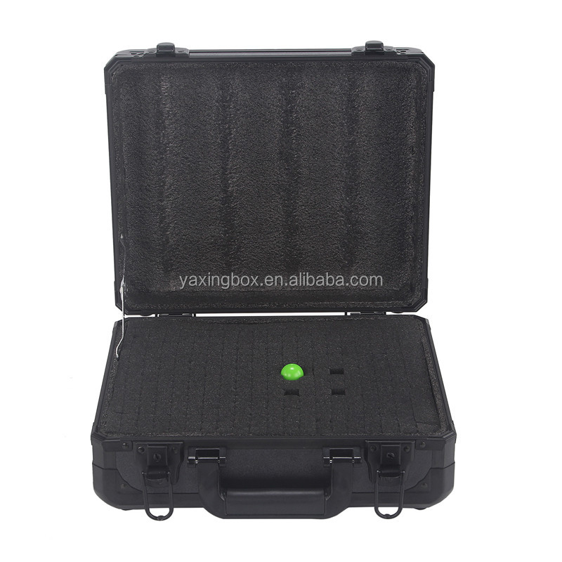 Black universal aluminum tool carrying case with pick and pluck foam