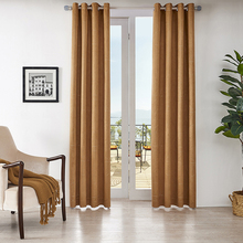 Blackout Embroidered Circle Pattern Grommets Curtains Soft Suede Fabric Drapes