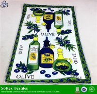 Olive green colour design kitchen towel,custom polyester printed kitchen tea towel