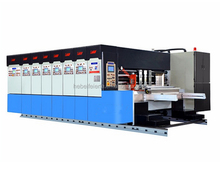 High speed fully automitic carton box making 4 color flexo ink corrugated printing slotting and die cutting and creasing machine
