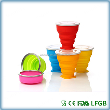 heat resistance silicone rubber folding collapsible reusable drinking coffee travel cup