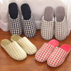 Winter checkered design non-slip indoor slipper warm bedroom slippers women cheap slippers in various colors