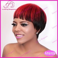 Cheap Factory Wholesale Prices Short Hair Wigs Red Highlight Natural Human Wigs For Sale