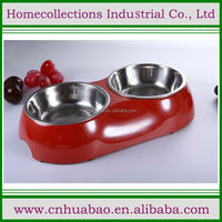 Hot sale stainless steel melamine pet double dish, animal food& water bowl