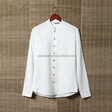 Men's summer long sleeve chinese collar white linen shirts with Wooden buttons