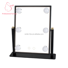 Hot sales Salon Hollywood LED bulbs touch screen vanity mirror with lights for table top