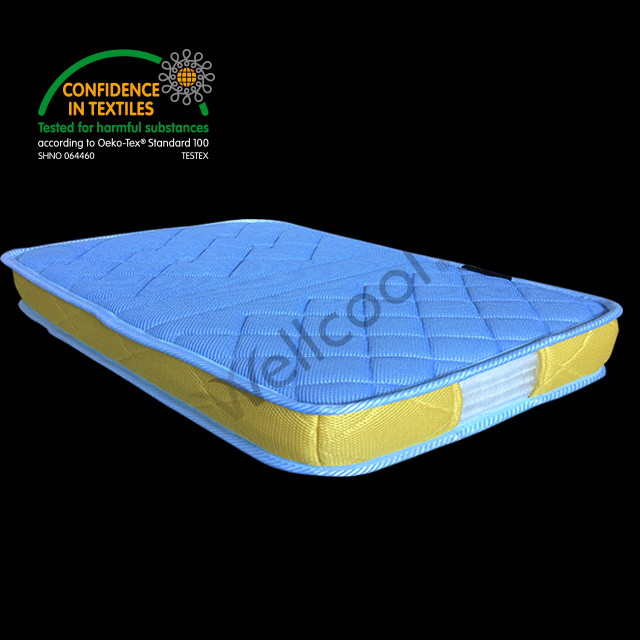 light blue 3d spacer mesh fabric mattress with yellow edge cloth