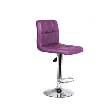 purple Pu Leather Colorful Height Adjustable Swivel rattan Bar Stool For Club