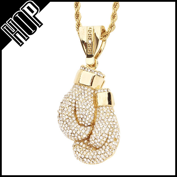 Iced Out Bling Hip Hop Sport Pendant Box Gloves Necklace