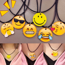 Wholesale IN STOCK 2016 New Emoji Smile Leather Necklace for Best Friends