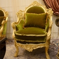 New Designed French Style Baroque Antique Solid Wood Hand Carved Velvet Armchair  Living Room Single Sofa BF08-J0005