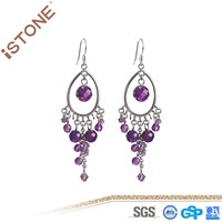 Fashion Amethyst Stainless Steel Drop Earring for party