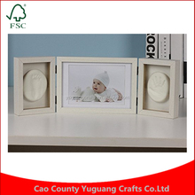 Best Gift for Baby Foldable Soft Clay Handprint Footprint DIY Inkpad Wood Picture Frame