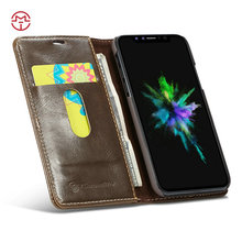 Hot sale mobile accessories smart phone case leather Phone Back Cover Leather Case for iPhone X