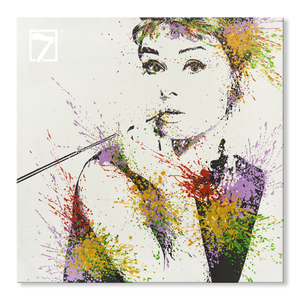 Print with Hand Touch Audrey Hepburn with lipstick Art Canvas Painting for Wall Decor