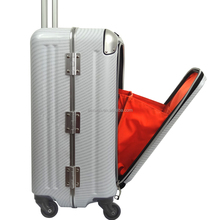 easy access pocket abs pc aluminum frame luggage suitcase