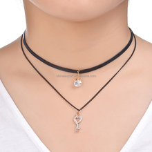 Best selling crystal black leather string choker necklaces with diamond key pendant