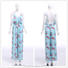 Summer blue printed elegant stylish backless jumpsuits for women 2014, overall female, women rompers and jumpsuits