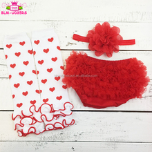 3PCS Baby Girl 1st Valentine's Day Outfit Red Heart Leg Warmer Valentine Ruffle Bottom Tutu Bloomer And Headband Set