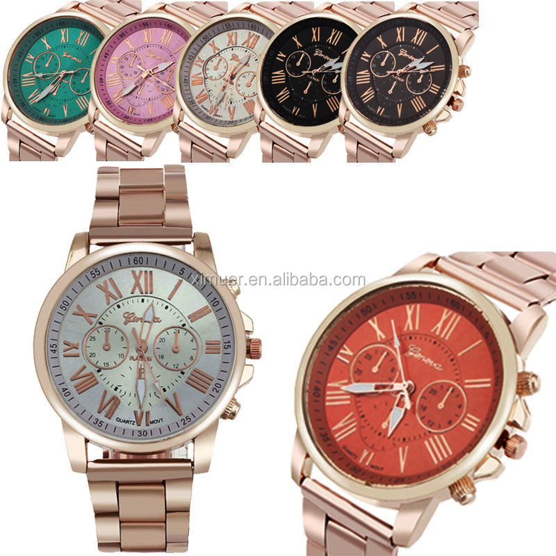 New Arrival Wholesale Multicolor Gold Band Geneva Watch