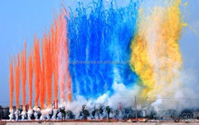 Daytime aerial colorful smokes 100 shots cake fireworks