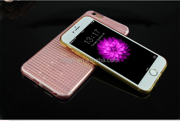 2016 newest diamond stone full cover tpu phone case glitter back cover case for iphone 6 6s