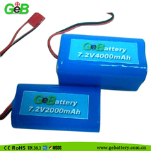 GEB18650-2S2P / 7.2v 4000mah rechargeable li-ion battery pack with high quality