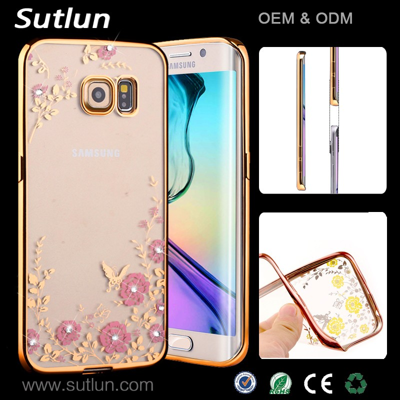 For Galaxy S5 Soft TPU Secret Garden Flower Pattern Electroplate TPU Back Cover Case For Samsung S6/S6 Edge
