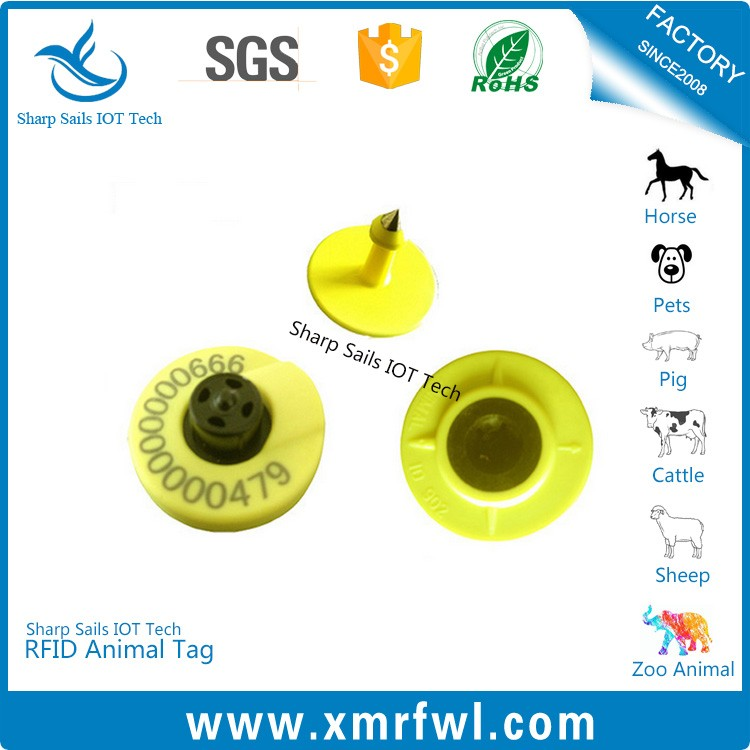 MF3 IC D21 chip factory price HF 13.56MHZ rfid ear tag for pig