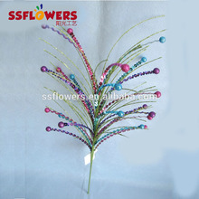 new artificial glitter beaded sequin foam ball branches pick for Christmas decoration spray