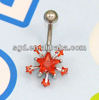 stainless steel curve barbell body piercing with six star design