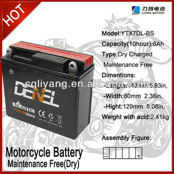 Mortorcycle Battery/ Battery Wholesales for Motorcycle 12V 7AH (YT7DL-BS)