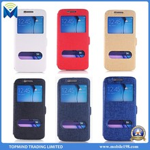High Quality Two Mobile Phones Leather Case for Samsung Galaxy S6 Flip Case with Dual Window View