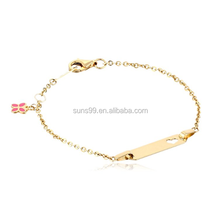 New Design Stainless Steel 14k Yellow Gold Heart Baby Id Rolo Bracelet
