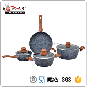 New 7pcs Aluminum Granite coating Non stick cookware set with soft touch wood grain