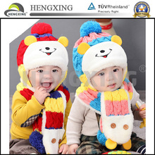 2015 Fashion wholesale custom in stock baby winter hat and scarf sets