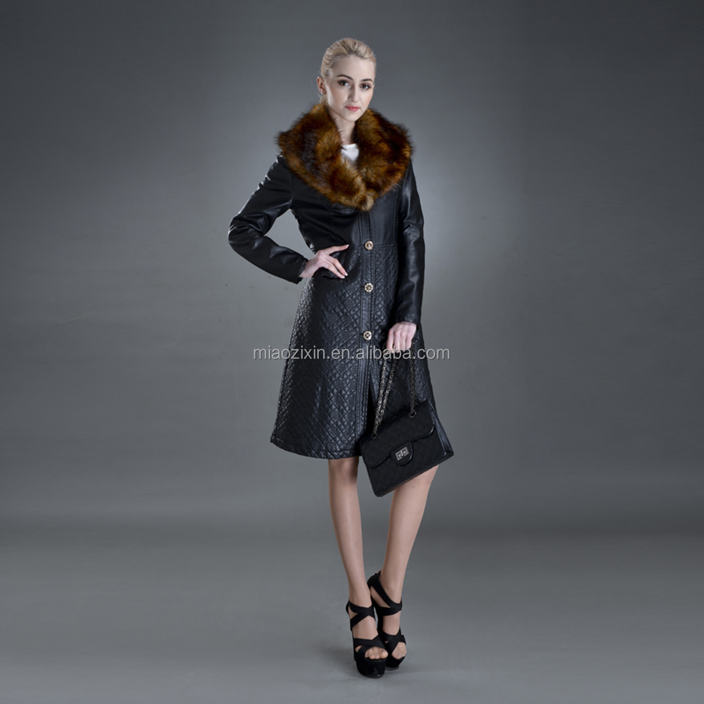 Women's HOT style PU Leather Long Coat checked Overcoat