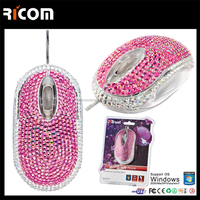 diamond wired mouse,diamond decorated computer mouse--MO7008--Shenzhen Ricom
