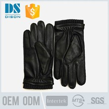 Top luxury fashion desgin beautiful rabbit fur wrist mens sheepskin leather gloves