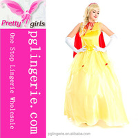 yellow sleeveless Princess ruched long dress with red cape ,glove, headwear
