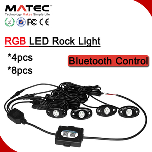 IP67 RGB LED Rock Light, Super Bright 9w per Pod Bluetooth Control LED Deck Lights Kit