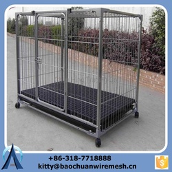 Heavy duty galvanized large dog kennel with wheels/ weld mesh outdoor large dog run kennel