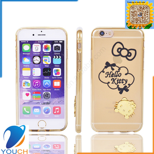 Colorful transparent soft tpu silicone 3d cute animal hello kitty cellphone case for iPhone 6 6s 6 plus 6s plus