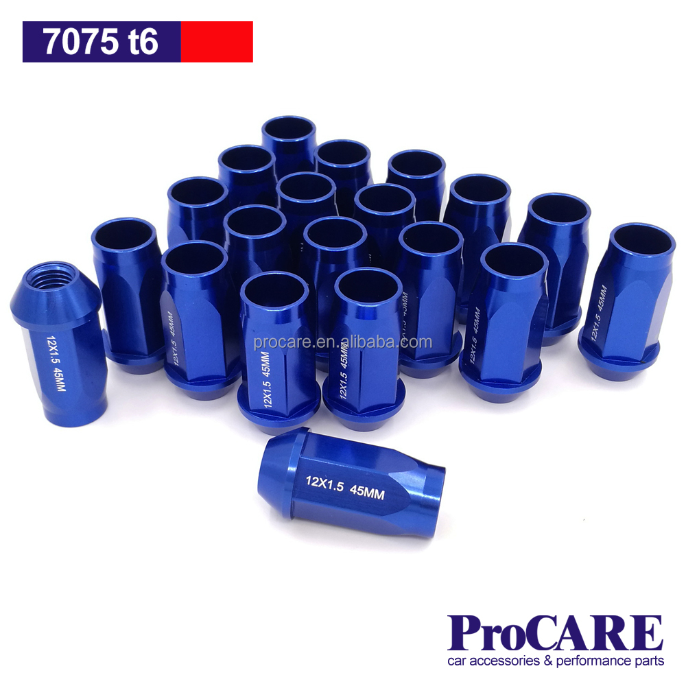 aluminum 7075 t6 forged and blue colored 12x1.5 lug nuts 45mm