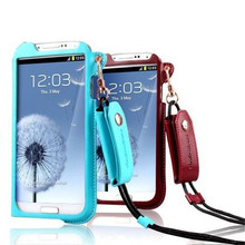 High Quality Leather Wallet Case for Samsung Galaxy S4 i9500 with Hand Strap, Full Body Protective Case for Galaxy S4