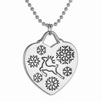 New Hot Style Alloy Bead Chain Christmas Deer & Snowflake Heart Pendant Necklace Jewelry Wholesale Christmas Ornament Suppliers