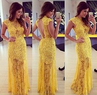 Walson girl outlet 2015 Yellow Sexy Lace Prom Dresses Long Open-bac ins factory instyles