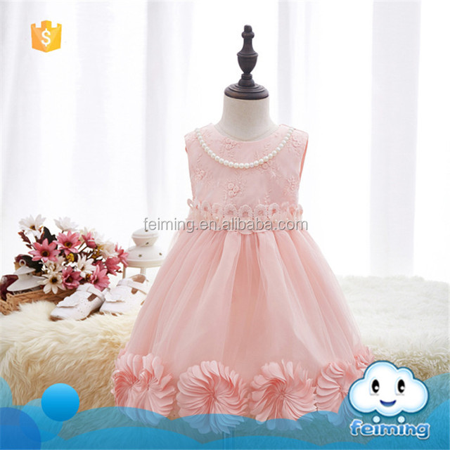 SD-1243G Formal Little Girls Party Dresses Brand Baby Girl Clothes Kids Toddler Girl Birthday Outfit Costume With Pearl Necklace