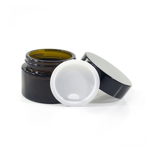 small silver black lid frosted 15ml 20ml 50ml 1oz 30ml amber glass jar for cosmetic and lotion